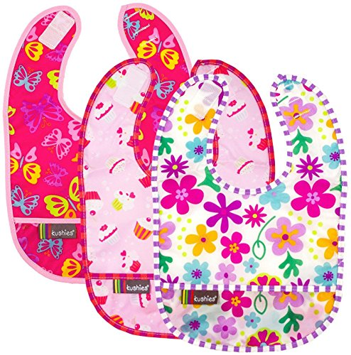 Kushies Taffeta Waterproof Bib - Pink - Girl - 3 ct