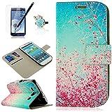 PhoneCase ZSTVIVA Pflaumenblüte Himmel Muster Druck PU Leder Buchstil Klapptasche mit Ständerfunktion Kreditkartenfächer und Magnetverschluss, Folie, Staub-Stecker, Eingabestift für Samsung Galaxy S3 i9300 rosa/blau