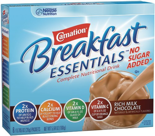 Nestle Carnation Instant Breakfast Essentials, No Sugar Added Rich Milk Chocolate Powder, 8-Count Envelopes (Pack of 8)