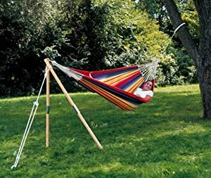 """64"""" Wooden Tepee Stand for Hanging Hammocks - Natural Finish"""