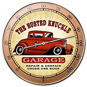 """Busted Knuckle Garage BKG-168 14"""" Round Hot Rod Thermometer"""