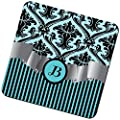 """Rikki Knight """"Letter """"B"""" Initial Sky Blue Damask and Stripes Monogrammed Design"""" Square Beer Coasters"""