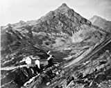 1800s Photo Julier Pass Graphic. View Of Julier Pass With Two Houses On Right F2