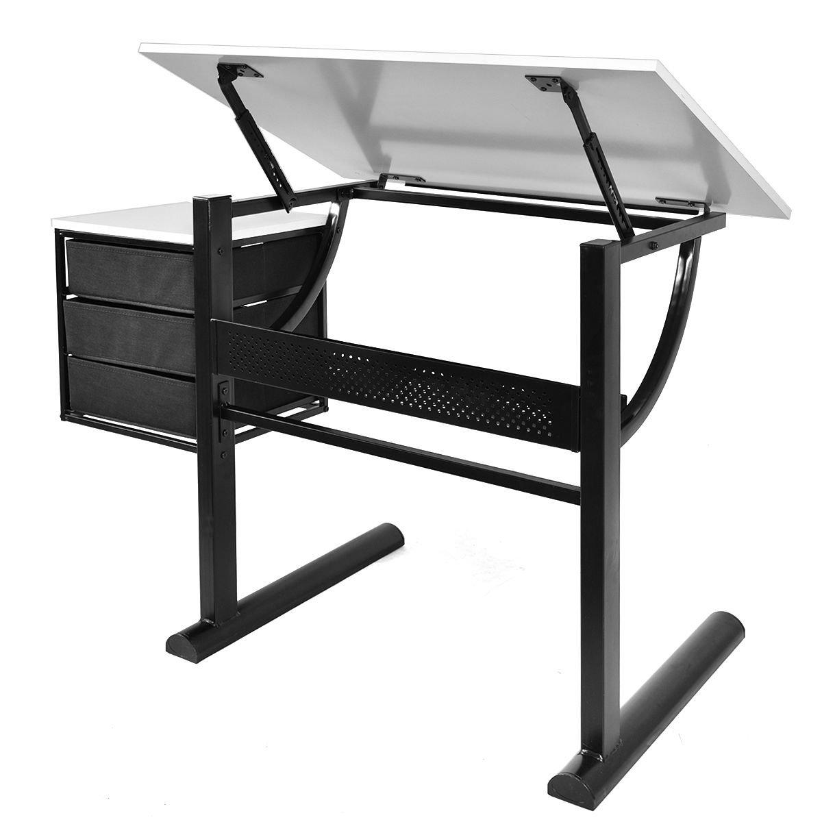 Tangkula Drafting Table Art & Craft Drawing Desk Art Hobby Folding Adjustable w/ Stool