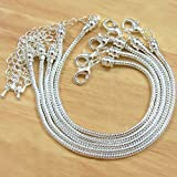 BSI - Pack of 5 Pcs 8 Inches Snake Chain Fits Pandora Chamilia Troll Biagi Beads, 5 Pcs Silver Plated Brass Charm Bracelet Chains w/ Screw End
