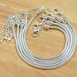 BSI - Pack of 5 Pcs Silver Plated Snake Chain Fits Pandora Chamilia Troll Biagi Beads, 5 Pcs Silver Plated Brass Charm Bracelet Chains w/ Screw End (7 Inches)