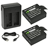 Wasabi Power Battery (2-Pack) and Dual Charger for 1080P and 4K Action Cameras (Compatible with AKASO, Aokon, Campark, DMYCO, HEIHEI, SOOCOO, Vemico, SJCAM M10, SJ4000, SJ5000 and more) (Color: Black, Tamaño: Dual Charger + 2 Batteries)