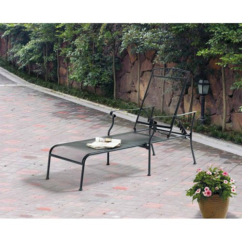 Mainstays Jefferson Wrought Iron Chaise Lounge, Black (Wrought Iron Chaise compare prices)