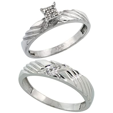 Sterling Silver 2-Piece Diamond Ring Set, 3.5mm Engagement Ring & 5mm Man's Wedding Band