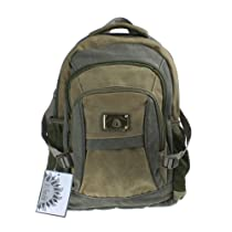 Green and Khaki Canvas Backpack with Mesh Pockets for School College Work or as a Day Pack- 11