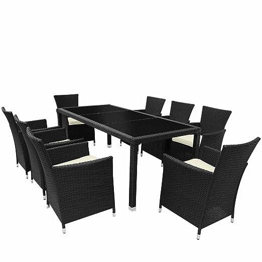 Miadomodo conjunto de mesa y 8 sillas de jard n de for Comedor redondo 4 sillas
