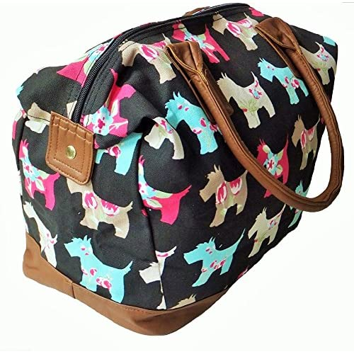 Canvas Scottie Dog Print Weekend, <strong>Overnight< strong>, Gym, Hand luggage <strong>Womens< strong> Holdall (Giftstore Galore CB166)