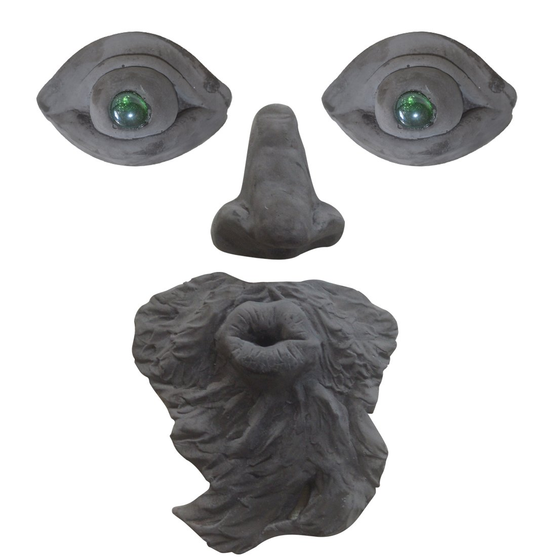 Funny Garden Tree Face Sculpture - Outdoor Yard Art Tree Tank Beard Green Glass Eyes Face Statue Decoration - Home Ornament Xmas Decor Gift