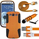 441 Wireless Hybrid Rugged Impact Proof Dual Layer Shock Resistant Case + USB 3.0 Data / Charging Cable & Mini Pen Stylus Bundle Kit for Samsung Galaxy S3, S 3, SIII, S III, i9300 (Alltel, AT & T, Boost Mobile, Cricket, Metro PCS, Net 10, Sprint, Straighttalk, T-Mobile, Tracfone, U.S.Cellular, Verizon, Virgin Mobile) (Case USB Stylus Kit - Net Orange)