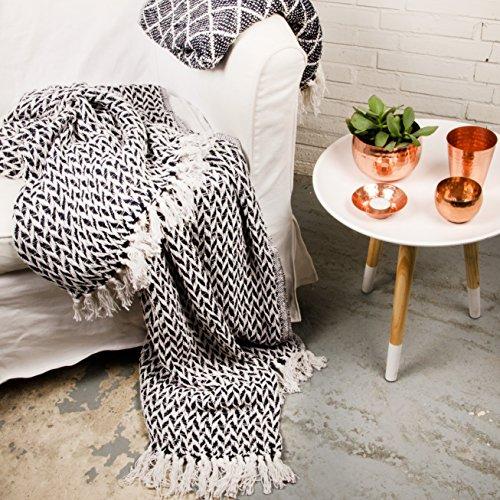 Plaid Hamam Blau Weiß Tagesdecke Decke 100% Baumwolle 170x130cm (Raute)