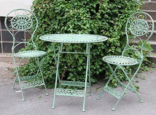 Jugendstil Gartenmöbel Set Antik Stil grün – 1 Tisch, 2 Stühle – Metall Gartenmöbel bestellen