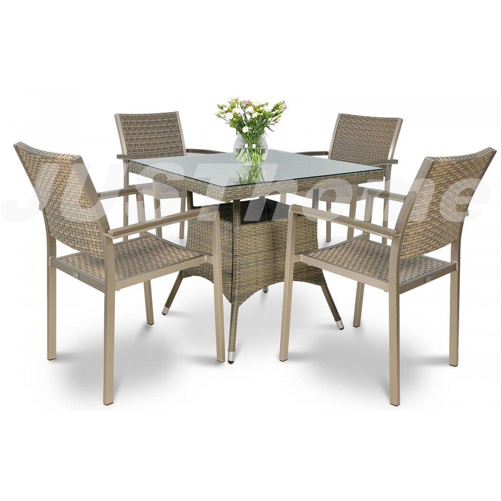 JUSThome Gartenmöbel Sitzgruppe Diana/Lugo 4x Stuhl + Glastisch Farbe: Grau