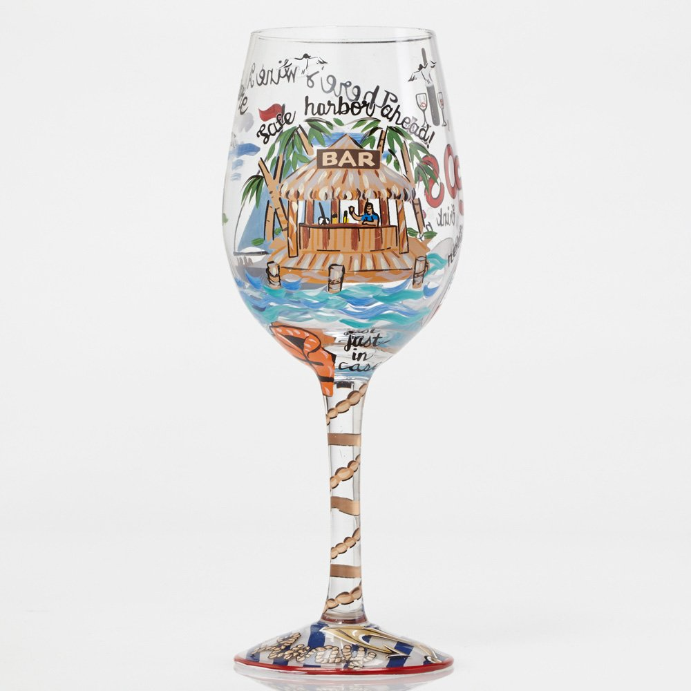 Hand-painted Artisan Wine Glass, 15 oz