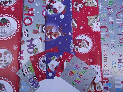 10fogli di carta da regalo natalizia Bambini e 5Etichette Regalo, Motivo: babbo natale, orso, Pinguino, pupazzo di neve, Renna, ho ho ho (2fogli ciascuno dei 5disegni)