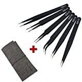 6pcs ESD Precision Anti-static Tweezers, Marrywindix Tweezers Stainless Steel Tweezers With a Bag for Electronics Jewelry-making Repairing