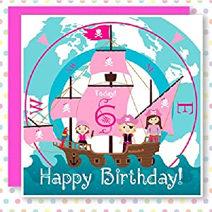 6 Today! Pink Pirate Birthday Card 'Girls can be Pirates too!' inkipinkicard boutique