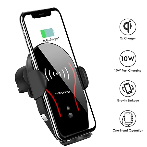 Wireless Car Charger Phone Mount Car Air Vent /& Dashboard Universal Phone Holder Fast Charging Compatible with iPhone 8//8 Plus//X//XS//XR//XS MAX,Samsung Galaxy and All QI-Enabled Smartphone