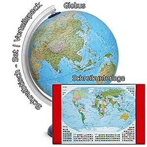 Idena Leuchtglobus 30 cm mit Halogen Energiesparlampe   Auch im Set mit Schreibunterlage (Weltkarte) (Set mit Schreibunterlage)
