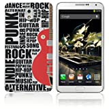 Samsung Galaxy Note 3 Hard Plastic (PC) Case - White Cover with Red and Black Guitar Design