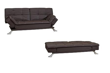 Elegante marrón reclinación piel regenerada sofá cama con patas curvadas cromado