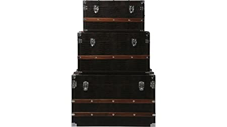 KARE design baúl con relieve de cocodrilo de cuero marrón S Napalon en óptica