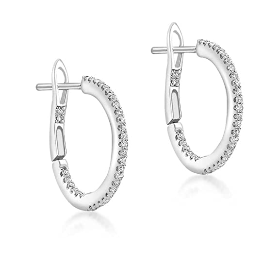 Carissima Gold 9 ct White Gold 0.20 ct Diamond Hoop Earrings
