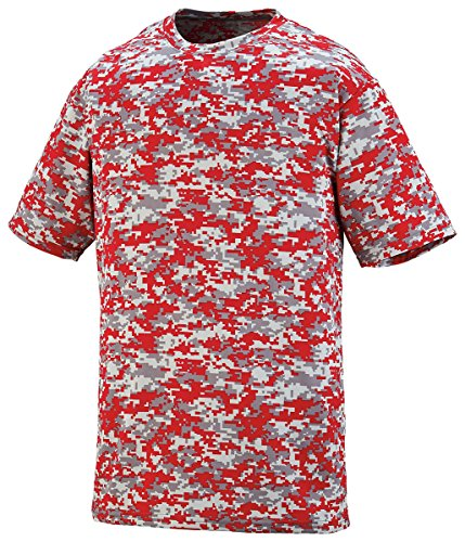 Augusta Youth Digi Camo Wicking Tee Red Digital M