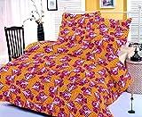 Casa Copenhagen Ista Blue Kite 7.5x8.25ft Cotton Double Bedsheet With 2 Pillow Covers - Orange & Pink