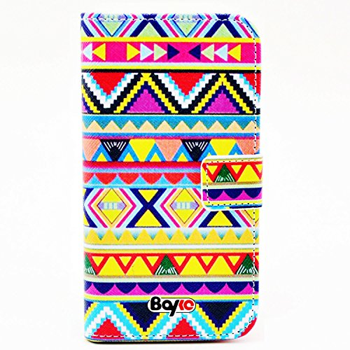 Bayke Brand / Iphone 6 Plus Case Beautiful Pu Leather Wallet Type Flip Case Cover With Credit Card Holder Slots For Apple Iphone 6 Pro 5.5 Inch Release On 2014 (Aztec Tribal Print)