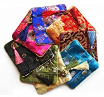 Tasseled Coin Pouch - Silk Brocade, Set of 12 - Various Colors,SHB-03