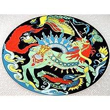 Unicorn (21 cm, fondo de colour negro) - BOPLA! Porcelana plato - Petite ASSIENTE - llano Piccolo - Small Plate - plato POSTRE DE diámetro 21 cm, 8-1/4 extramatrimonial como plato, plato DE postre, plato DE postre, platos DE ensalada, plato para el BOL, BEILAGEN-TELLER etc, peso: 364 G