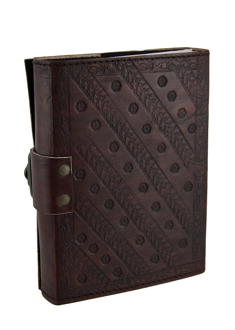 Embossed Leather Blue Stone 120 Page Unlined Journal with Clasp 1