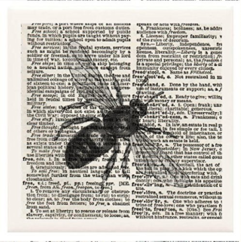 """Hand Made Coasters [Set Of 4] - Bees, Butterflies & Insects """"Vintage Bee"""" Artwork Combines With Vintage Dictionary Pages, Ceramic Tiles And Specialty Materials To Create These Coasters From Our Design Collection - A Stylish And Chic Way To Add A Unique Sp front-396853"""