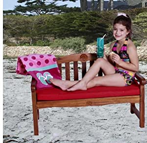 Kids Solid Teak Rose Childrens Garden Bench With Red Cushion Indoor And Outdoor Bench Made For Your Prince And Princess Compliments Galore Top Quality With No Chemicals Great Way To Put On Your Shoes For Your Prince And Princess Ages 1-9 by JazTy Kids Out