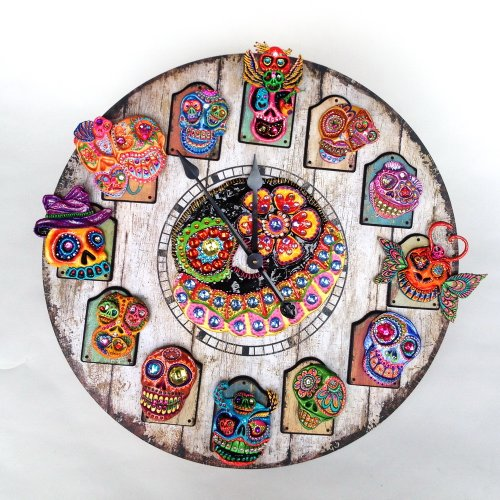 Day of the Dead Skull Wall Clock Large 29 inches diameter Vintage a distressed antique finish wood clock featured Gothic Skull Handmade