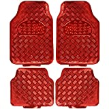 BDK Universal Fit 4-Piece Metallic Design Car Floor Mat - (Red)
