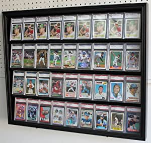 Lockable 36 Graded Card Display Case with door, Holds Topps, Buckett, PSA Football, baseball, basketball, or Hockey sports cards (CC02-BL)