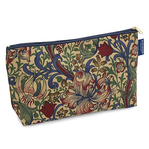 Blue Badge Company-Custodia per accessori da toeletta, in cotone da bagno, con fodera interna impermeabile, William Morris Golden Lily