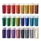 Exclusive Set of 24Extra Fine Arts & Crafts Glitter Shake Jars for Scrapbooking, Face/Nail/Eye Art, Kids School Projects [Maximum Sparkle & Shine] Perfect Assorted Color Kit For Children & Adults