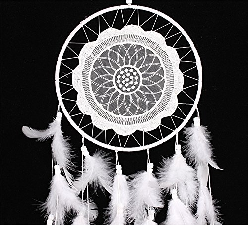 "Yansanido White Laces Dream catcher Handmade Traditional White Beaded and Feathers with White Lace Approx 7.8"" Diameter 24.8"" Long Dreamcatcher"