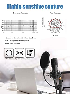 USB Microphone Kit 192KHZ/24BIT MAONO AU-A04T PC Condenser Podcast Streaming Cardioid Mic Plug & Play for Computer, YouTube, Gaming Recording