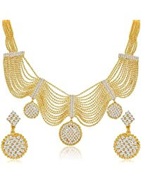 Zeneme Splendid Gold Plated Ball Chain AD Necklace Set For Women