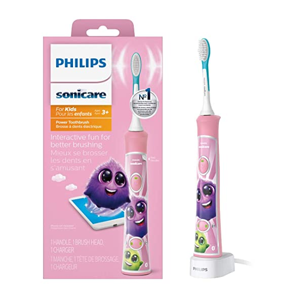 Philips Sonicare for Kids Rechargeable Electric Toothbrush, Pink HX6351/41 (Color: Pink)