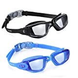 Aegend Swim Goggles, Pack of 2 Swimming Goggles No Leaking Anti Fog UV Protection Crystal Clear Vision Triathlon Swim Goggles with Free Protection Case for Adult Men Women Youth Teens Kids, 8 Choices (Color: 05(Black Light Gray Lenses&Blue Light Blue Lenses))