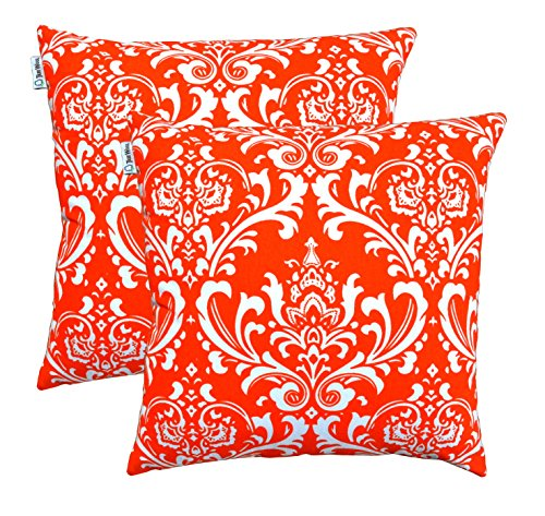 TreeWool, (Pack of 2) Damask Cotton Canvas Decorative Throw Pillow Cushion Covers by TreeWool Cushion Collections - 18 X 18 Inches (California Orange)